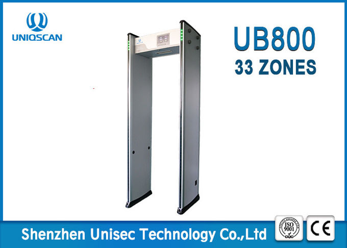 33 mutual over-lapping detecting zones and 999 sensitivity level  walk through metal detector UB800 for school and bar.